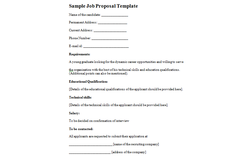 Sample Job Proposal Format