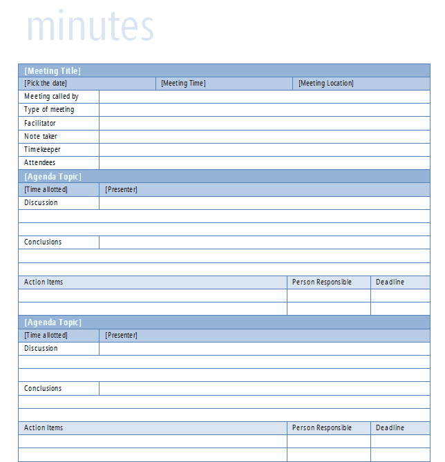 9 meeting minutes templates word excel pdf formats for Taking minutes in a meeting template