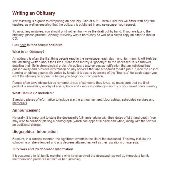 Obituary Template Newspaper Roho4senses