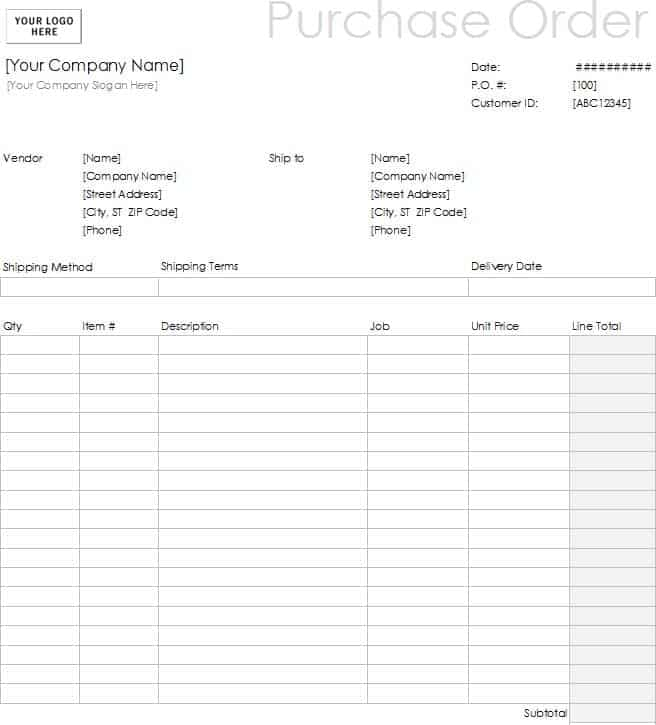 11 Sample order form templates Word Excel PDF Formats – Company Order Form Template