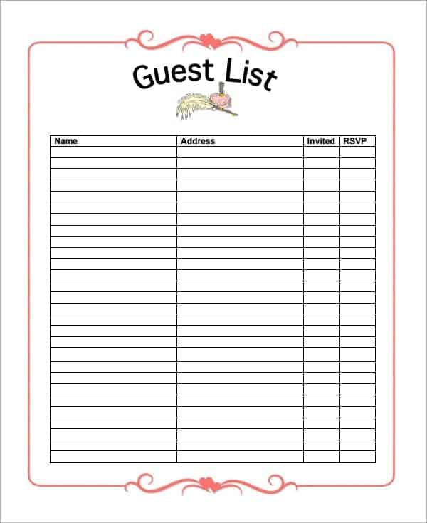 Wedding Party guest list template Archives Word Templates
