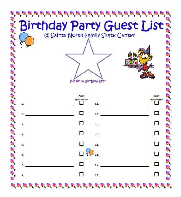 10 Party guest list templates Word Excel PDF Formats