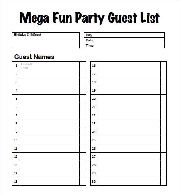 10 party guest list templates word excel pdf formats. Black Bedroom Furniture Sets. Home Design Ideas