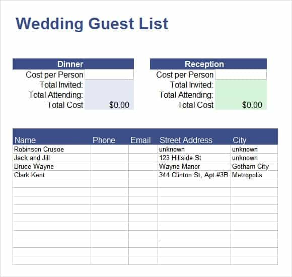Party Guest List Templates  Word Excel Pdf Formats