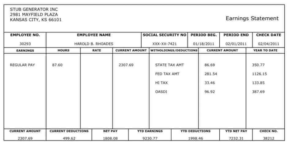 payroll check stub template free