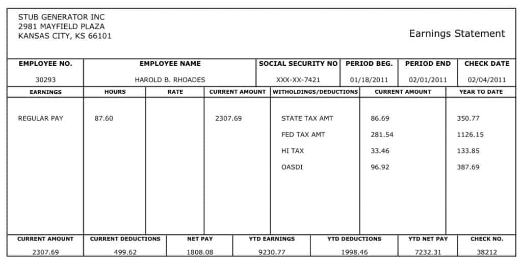 High Quality Pay Stub Image 11 Regard To Pay Stub Format
