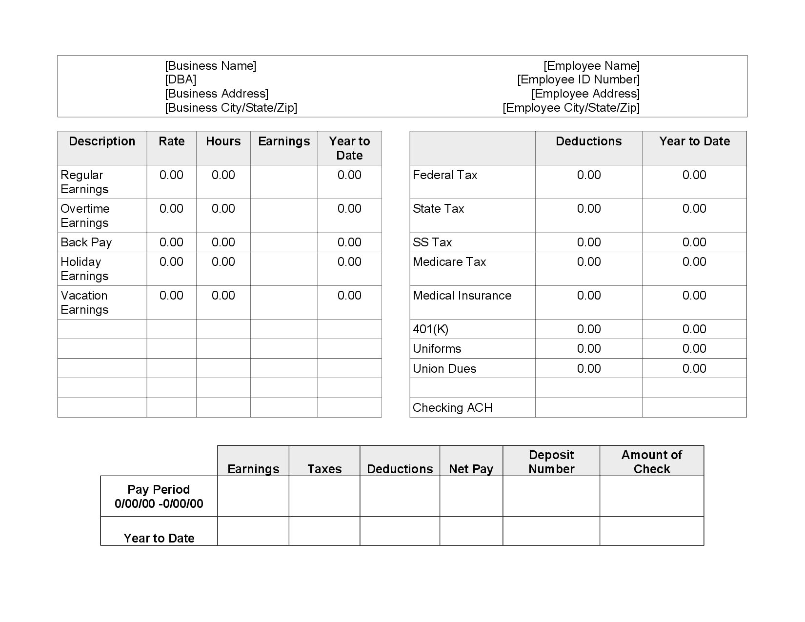 pay stub creator excel