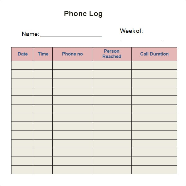 10 phone log templates word excel pdf formats. Black Bedroom Furniture Sets. Home Design Ideas