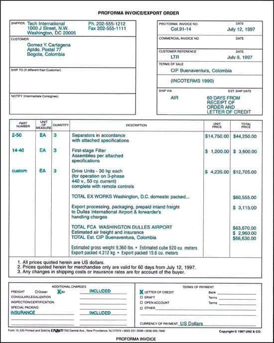 Proforma Invoice Templates  Word Excel Pdf Formats