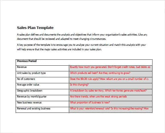 Effective Sales Plan Template Design In Word