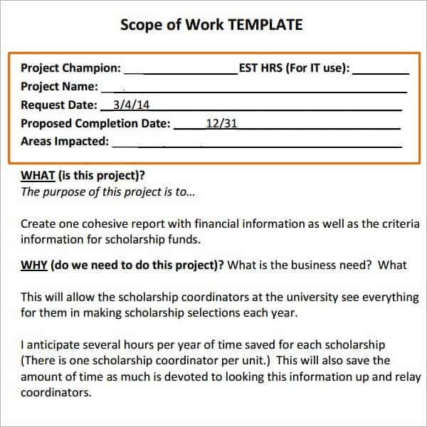 7 construction scope of work templates word excel pdf for It scope of work template