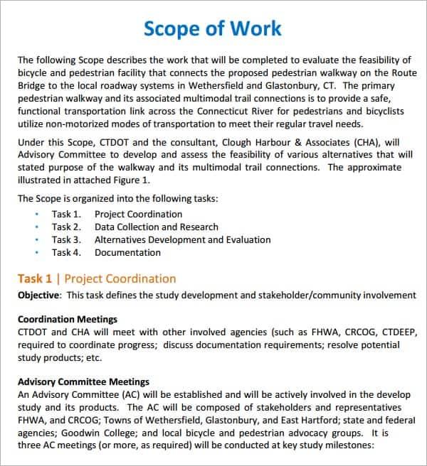 sample scopes of work