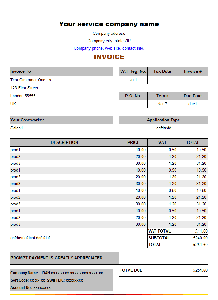8+ Service Invoice Templates - Word Excel PDF Formats