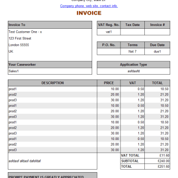 Service Invoice Template Online Archives Word Templates