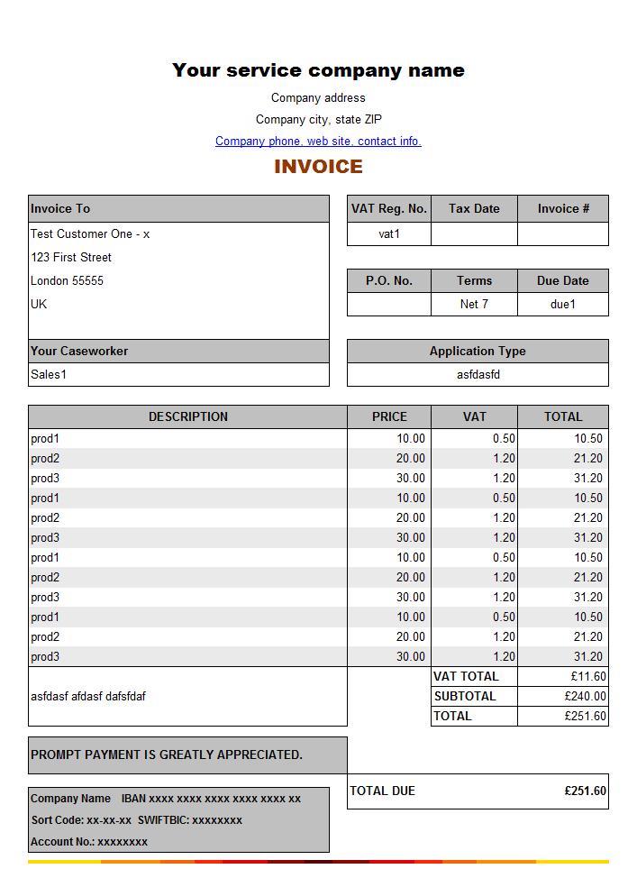 8+ Service Invoice Templates