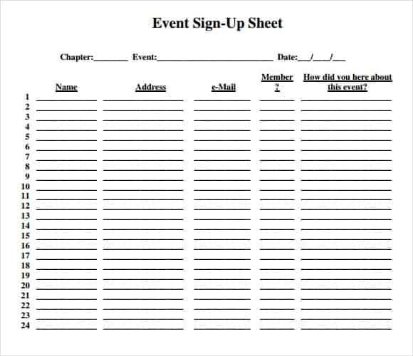 template sign up sheet