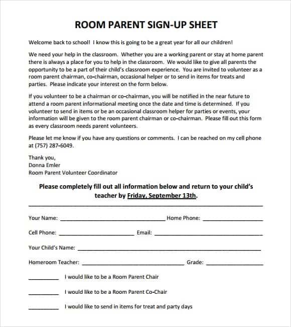 9 Sign up sheet templates Word Excel PDF Formats – Volunteer Sign Up Sheet Printable