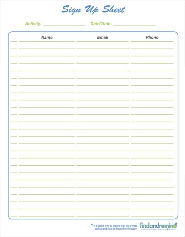 9+ Sign Up Sheet Templates  Club Sign In Sheet Template