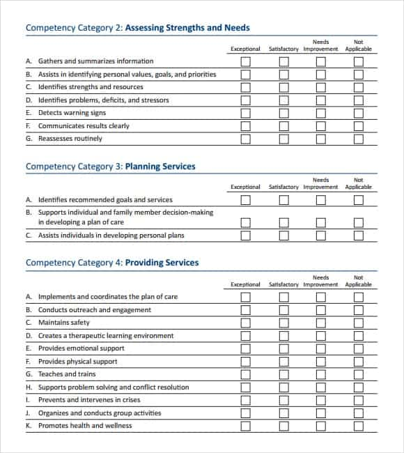 12+ Skills assessment templates