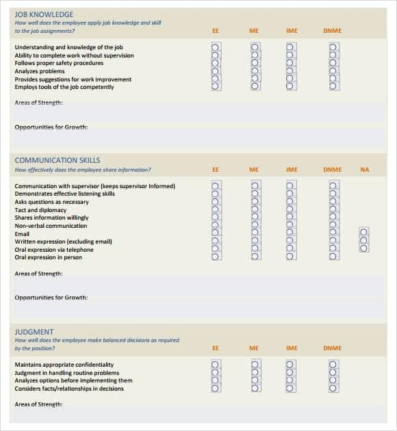 employment skills assessment template