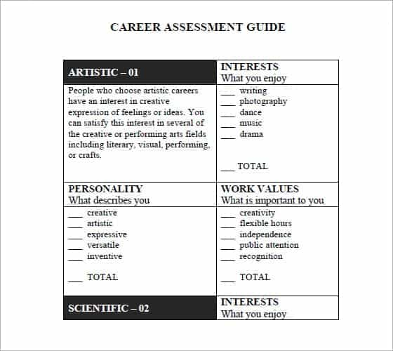 12 Skills assessment templates Word Excel PDF Formats – Career Assessment Template