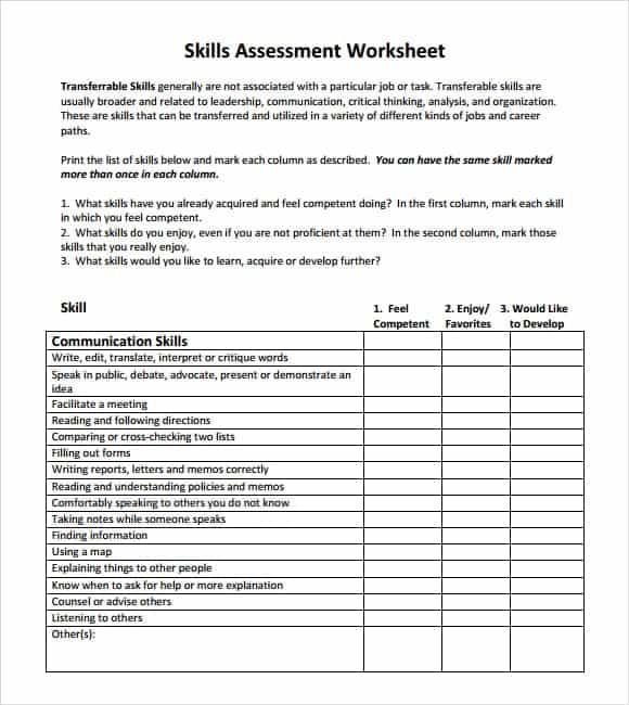 Skills Assessment Templates  Word Excel  Formats