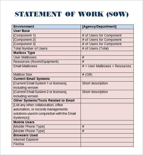 8 statement of work templates word excel pdf formats. Black Bedroom Furniture Sets. Home Design Ideas