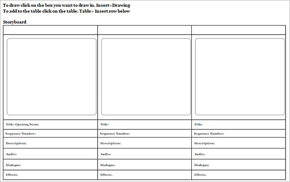 Storyboard Templates  Word Excel Pdf Formats
