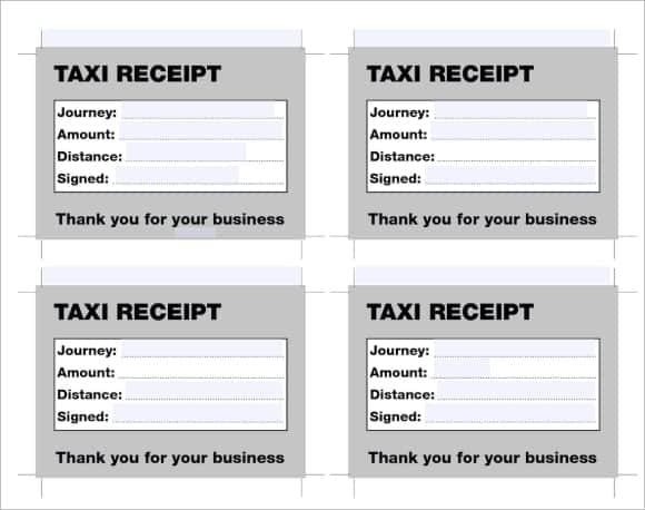 7 Taxi receipt Templates Word Excel PDF Formats – Manual Receipt Template