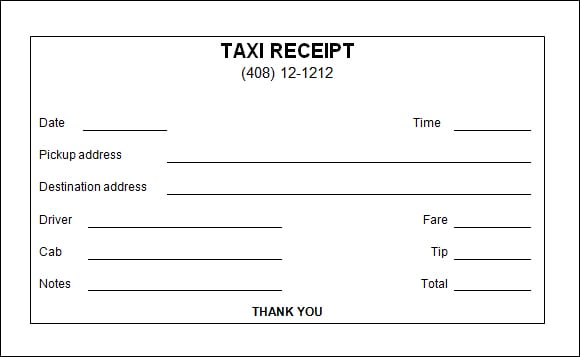 Taxi Receipt Template - FREE DOWNLOAD