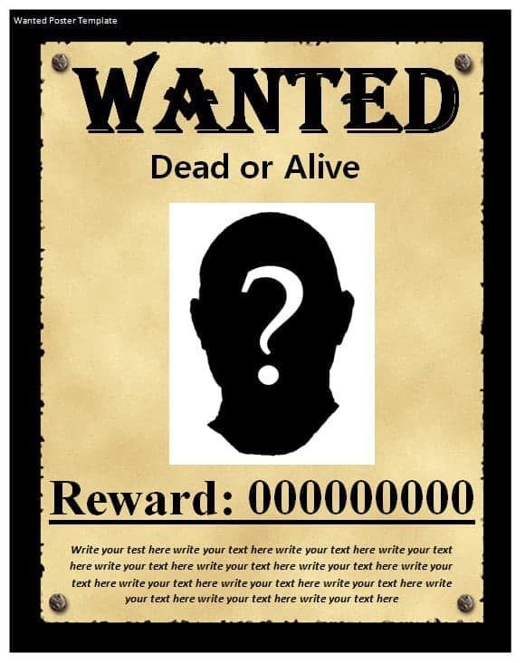 Wanted Poster Templates  Word Excel Pdf Formats