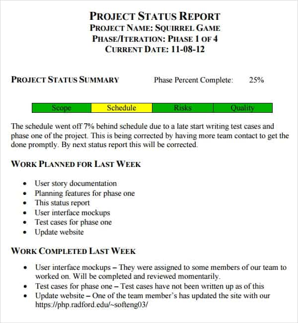 7 Weekly status report templates Word Excel PDF Formats – Status Report Template Word