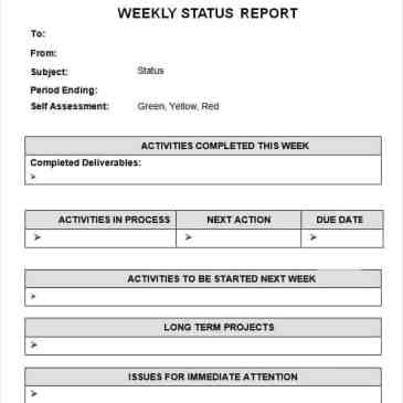 7 weekly status report templates