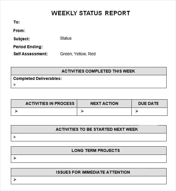 Report Templet Editable Weekly Management Report Template Word