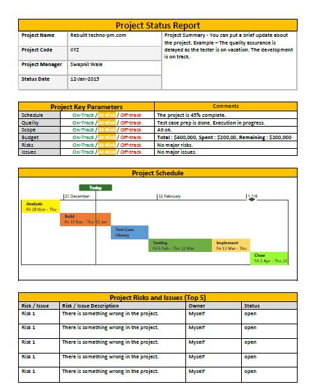 progress report template excel