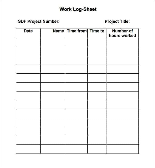 Work Log Templates  Word Excel  Formats