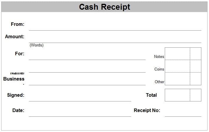 Amount Receipt Format  Cash Receipt Format