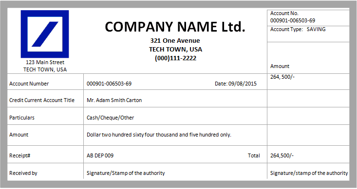 Cash Receipt Template 7  Amount Receipt Format