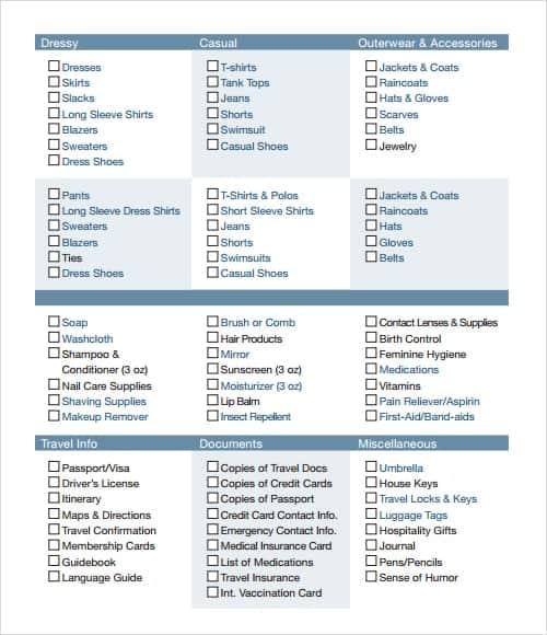 Checklist Templates  Word Excel Pdf Formats