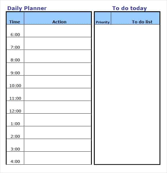 10 Daily planner templates Word Excel PDF Formats – Time Planner Template