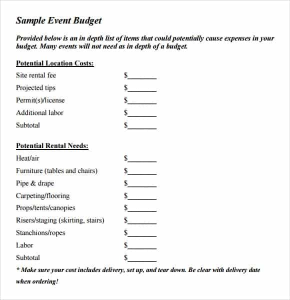 event budget template 2