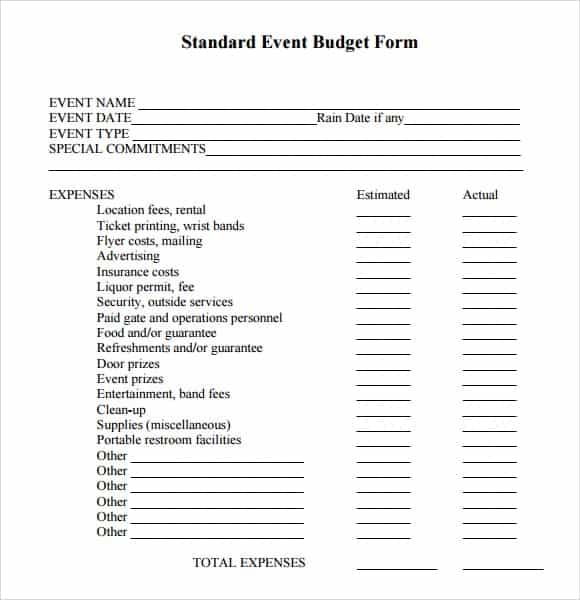 9+ Event Budget Templates   Word Excel Pdf Formats