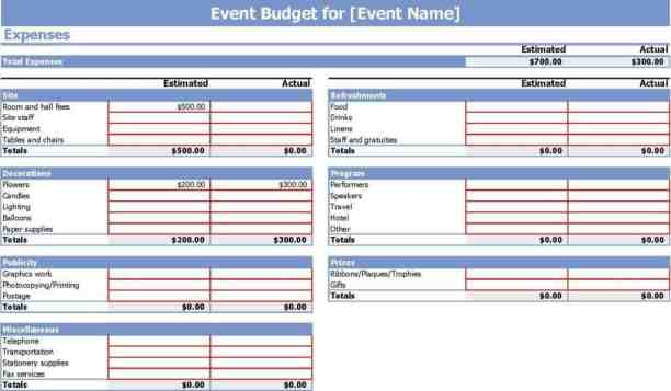 event budget template 9
