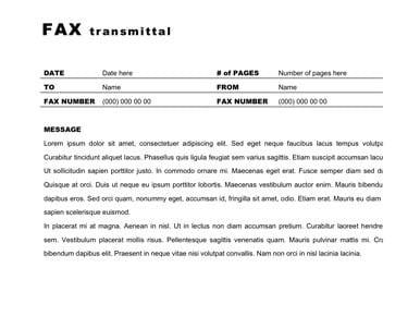 Fax Cover Sheet Template 3  Fax Transmittal Template