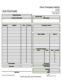 8+ Job Estimate Templates