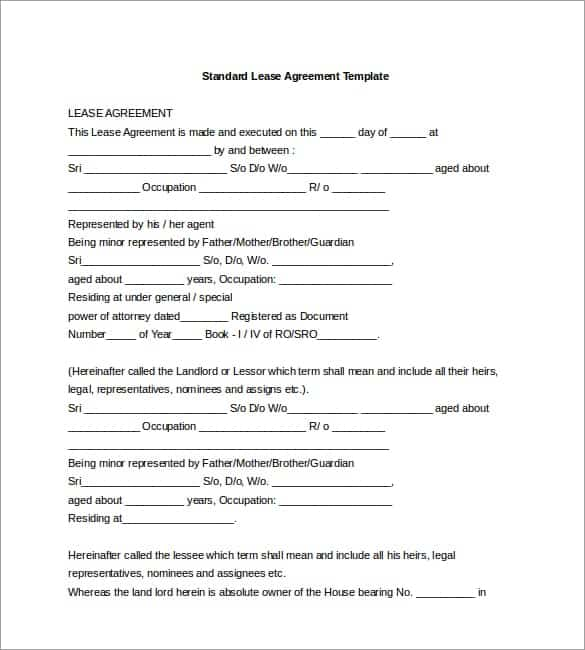 lease agreement template 1