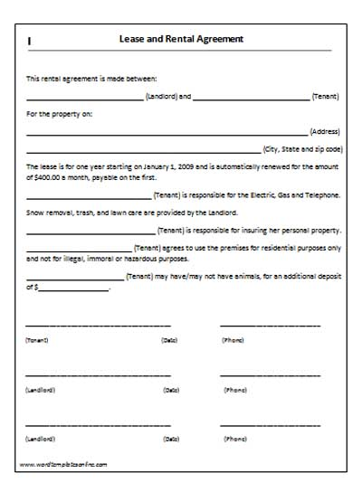 Lease contract format