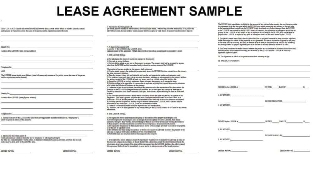 property lease agreement template – Sample Lease Agreement Form