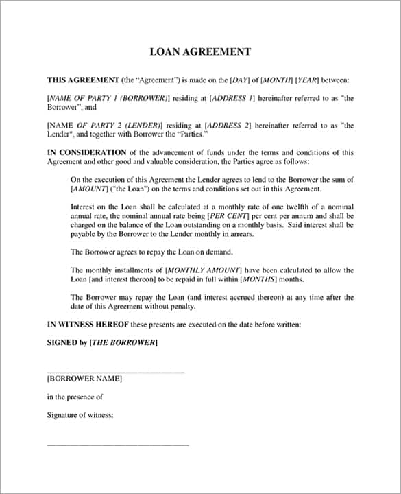 Loan Agreement Template 12  Interest Free Loan Agreement
