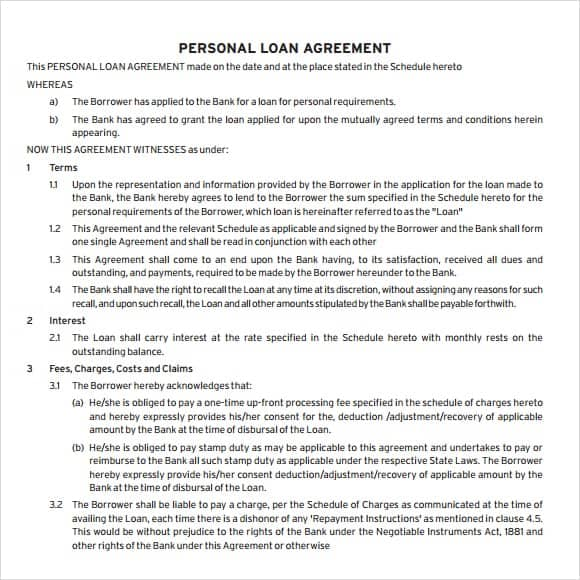 20 Loan Agreement Templates Word Excel PDF Formats – Private Loan Agreement Template